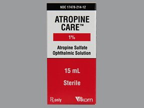 Atropine Sulfate 1% 1X15 ML Drops Rx Required Mfg.by:Akorn Opthalmics USA. Rx R