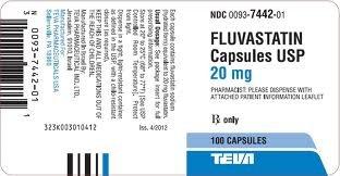 Fluvastatin Sodium 20Mg Caps 1X100 Ea Rx Required Mfg.ByTeva pharma
