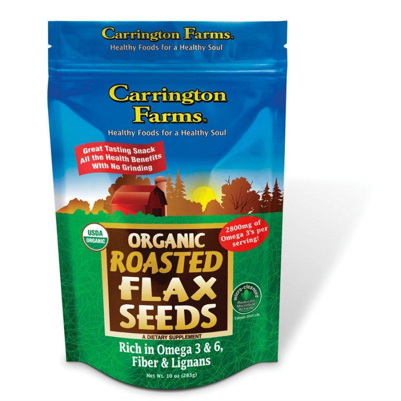 Flax Seed Roasted Organic(95%+) 6x10 oz Case by CARRINGTON FARMS