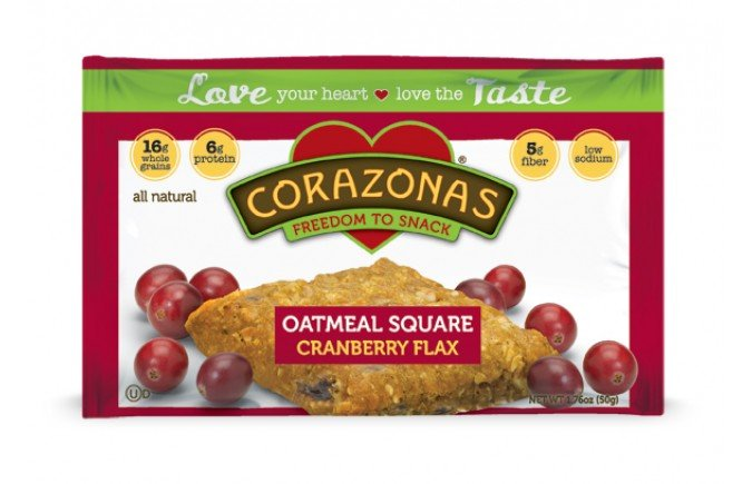 Oatmeal Squares Cran Flax 12x1.76 oz Case by CORAZONAS