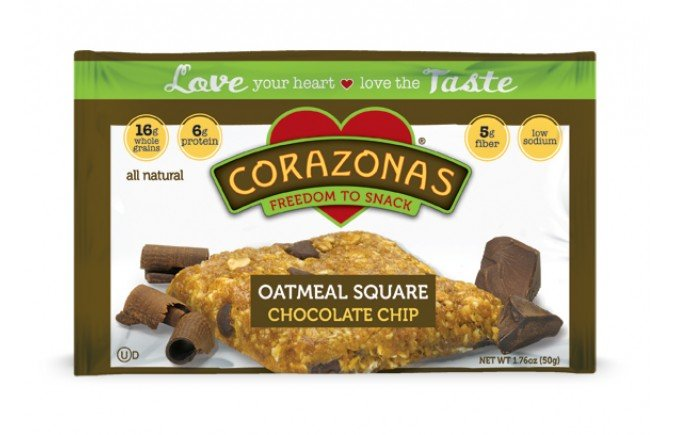 Oatmeal Squares Choc Chip 12x1.76 oz Case by CORAZONAS