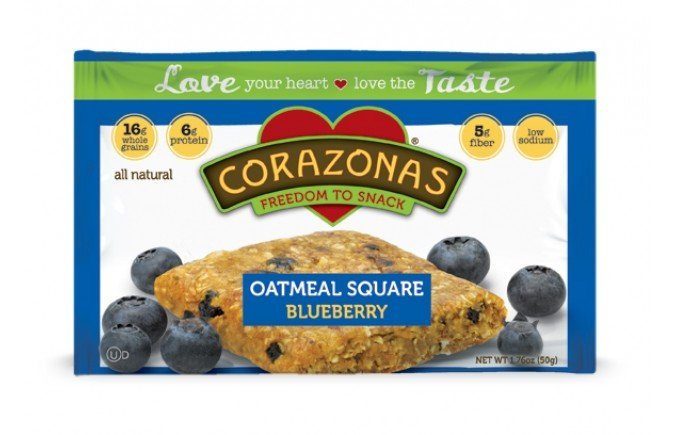 Oatmeal Squares Blueberry 12x1.76 oz Case by CORAZONAS