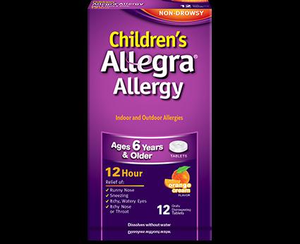Allegra Otc 12 Hour 30 Mg Orange Cream Flavor Child 12 Tabs