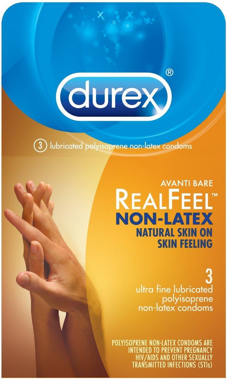Durex Real Feel Polyisoprene Non Latex Lubricated Condoms 3 Ct.