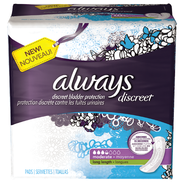 Always Discreet Moderate Long Disposable Pads 6x48 Ct.