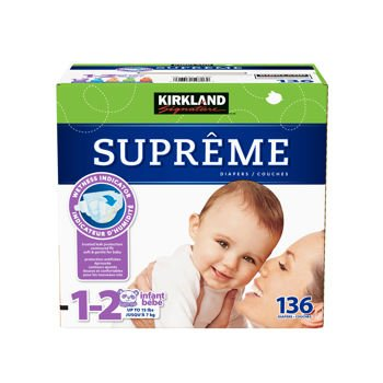 kirkland signature supreme diapers size 1 2 quantity 136. Black Bedroom Furniture Sets. Home Design Ideas