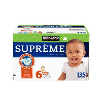 kirkland signature supreme diapers size 6 quantity 135. Black Bedroom Furniture Sets. Home Design Ideas