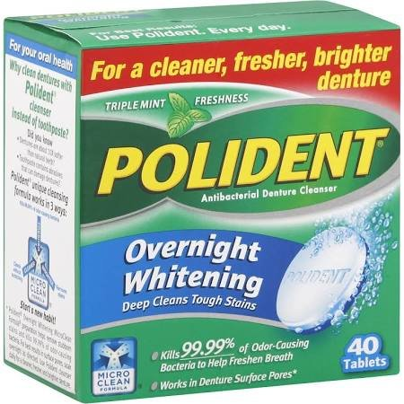 Polident Overnight Denture Cleaners Mint Tablet 40 Ct