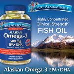 Pure Alaska Omega-3 Clinical Strength 500 Mg EPA+DHA 180 Softgels