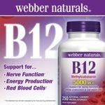 Webber naturals B12 5000 Mcg 250 Microlozenges