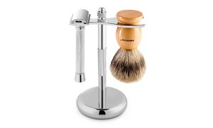 Perfecto Deluxe Chrome Razor and Brush Stand