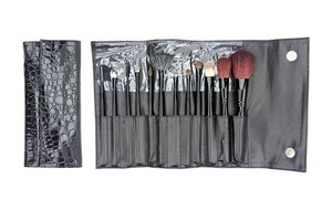 Image 0 of Beaute Basics Makeup-Brush Set with Faux-Reptile Wrap  12 Pc