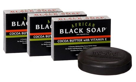 Madina African Black Soap with Cocoa Butter and Vitamin E 6x3.5 Oz