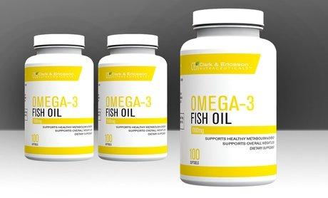 Clark & Ericsson Omega-3 Fish Oil Dietary Supplements 100 Softgels