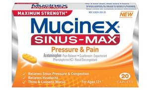 Mucinex Sinus Max Pressure and Pain Relief Medicine 3x20 Ct
