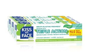 Kiss My Face Triple-Action Fluoride-Free Gel Toothpaste 3x4.5 Oz