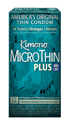 Kimono Microthin Aqualube Condoms 12 Ct