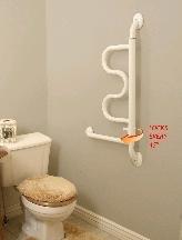 Stander Bathroom Aids 40 In Curve Grab Bar White Glossy 9000