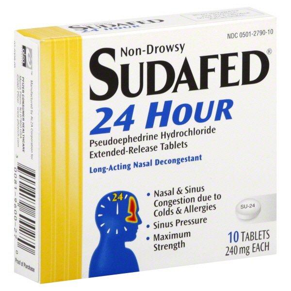 Sudafed 24 Hour Pse 10 Tablet