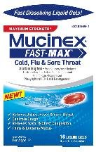 Mucinex Fast Max Cold Flu Sore Throat 16 Gel Caps