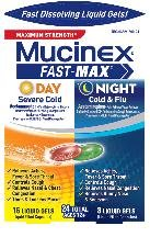 Mucinex Fast Max Day Nite Cold Flu 24 Liqui Gels
