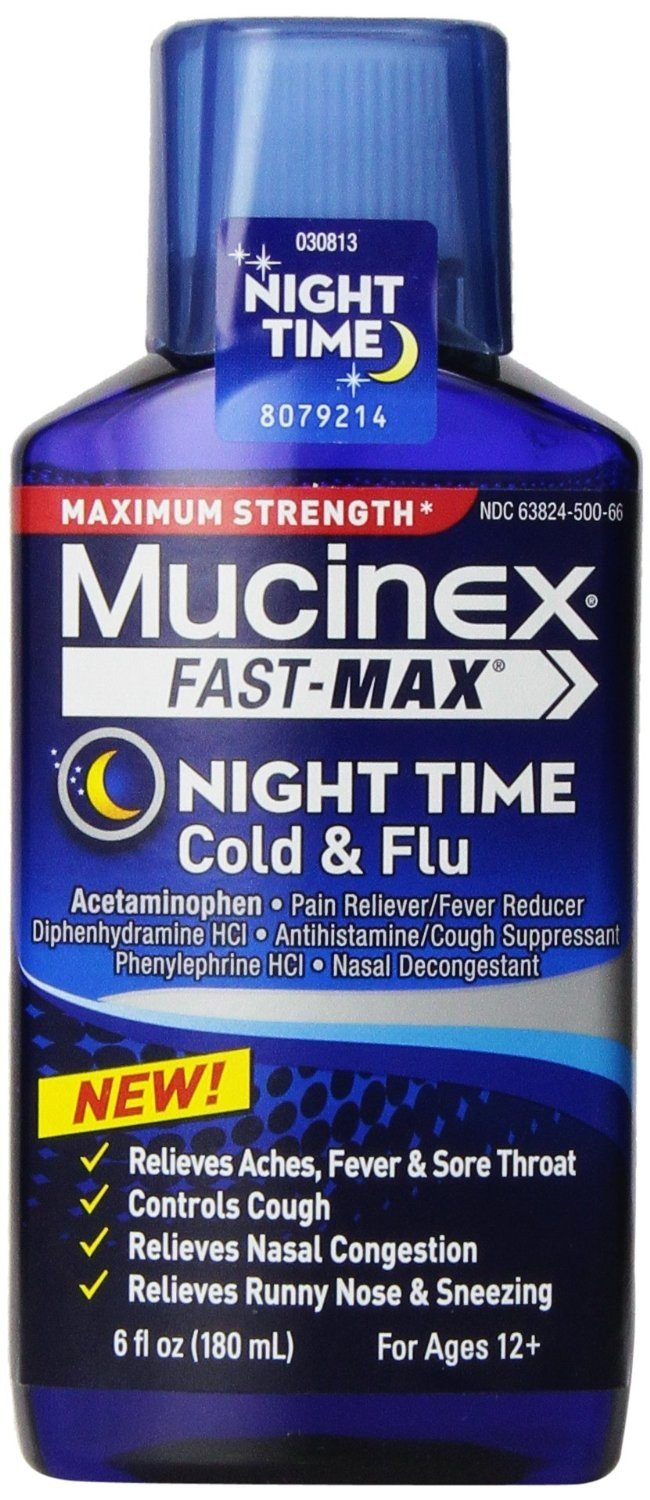Mucinex Fast Max Cold Flue Night Time Liquid 6 Oz