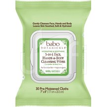 Babo Botanical Face Wipes 3 In 1 Cucumber Aloe Vera 4 x 30 Ct