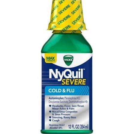 Image 0 of Nyquil Severe Cold & Flu Liquid 12 Oz