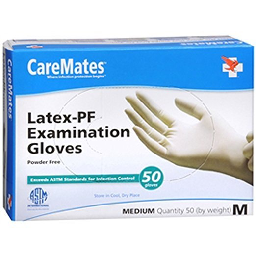 Caremate Latex Glove P/F Med 50 Ct By Shepard Medical