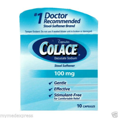 Laxative, Stool Softners and Cathartic - Colace=Docusate - Colace-T 100 Mg 10 Capsules
