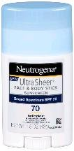 Neutrogena SPF 70 Ultra Sheer Stick 1.5 Oz