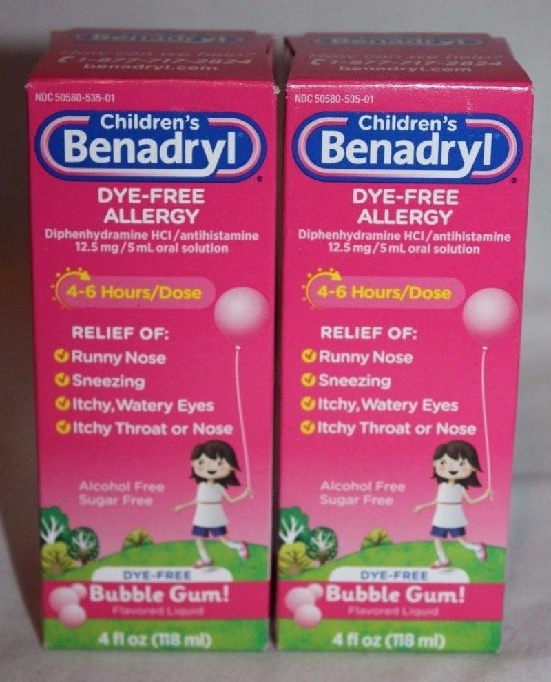 Benadryl Kids Allergy Liquid Dye Free Bubblegum 4 Oz