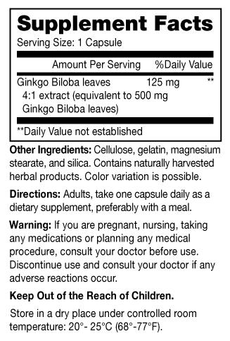 Image 1 of Ginkgo Biloba 500mg Capsule 60ct by Mason Vitamins