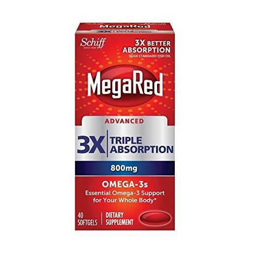 MegaRed Advanced Omega 800mg Triple Absorption 40 Soft Gel Capsules