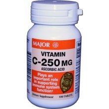 Vitamin C 250 mg Ascorbic Acid Dietary Supplement Tablets 100