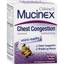Mucinex Child Mini Melts Grape Granules 50mg 12 Pack Tablets