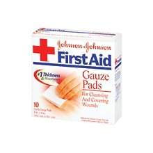 Johnson & Johnson First Aid 4 X 4 Inch Sterile Large Gaueze Pads 10