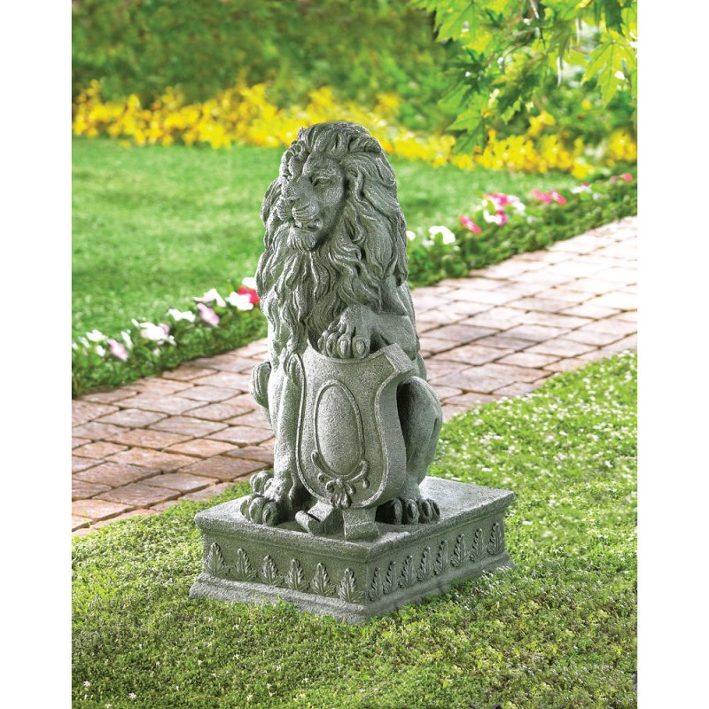 Image 0 of Regal Guardian Lion Garden Statue with Crested Shield