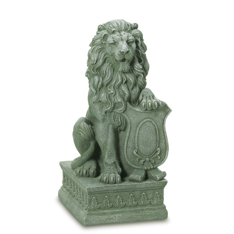 Image 1 of Regal Guardian Lion Garden Statue with Crested Shield