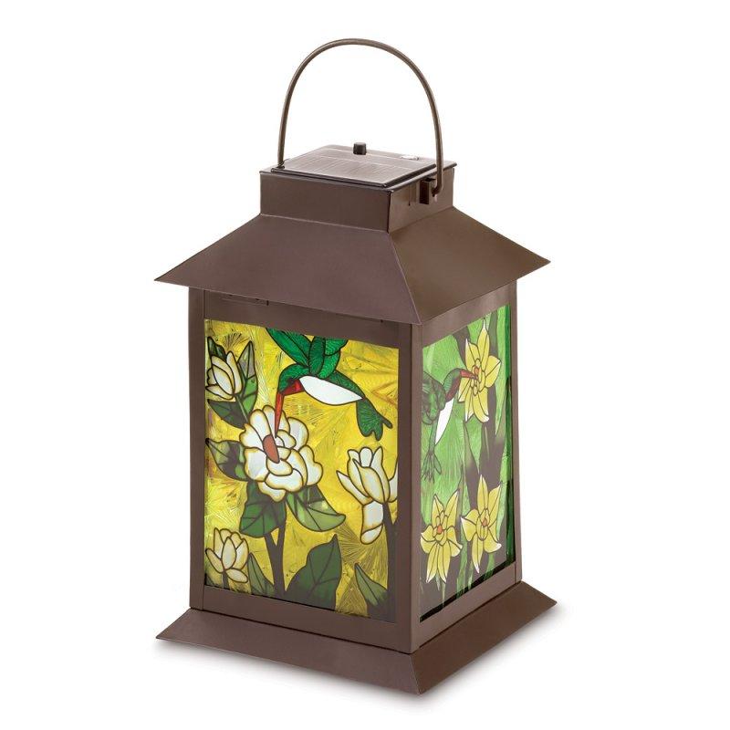 Image 1 of Solar Powered Floral Garden Patio Lantern