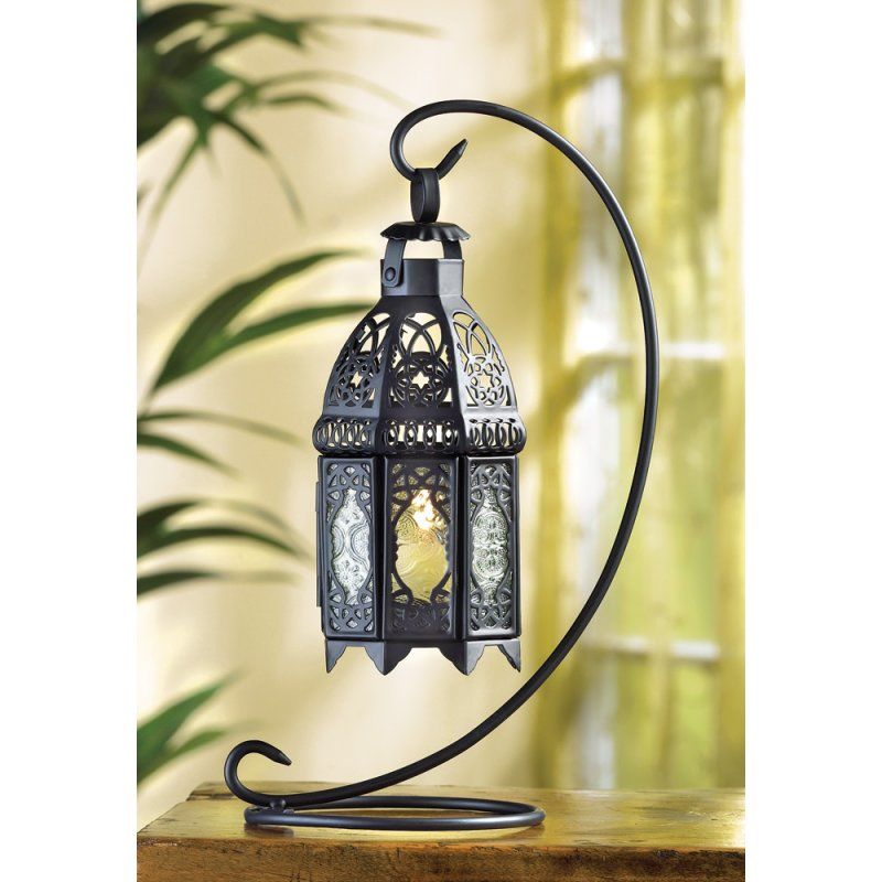 Black Hanging Moroccan Lantern on Scrollwork Stand