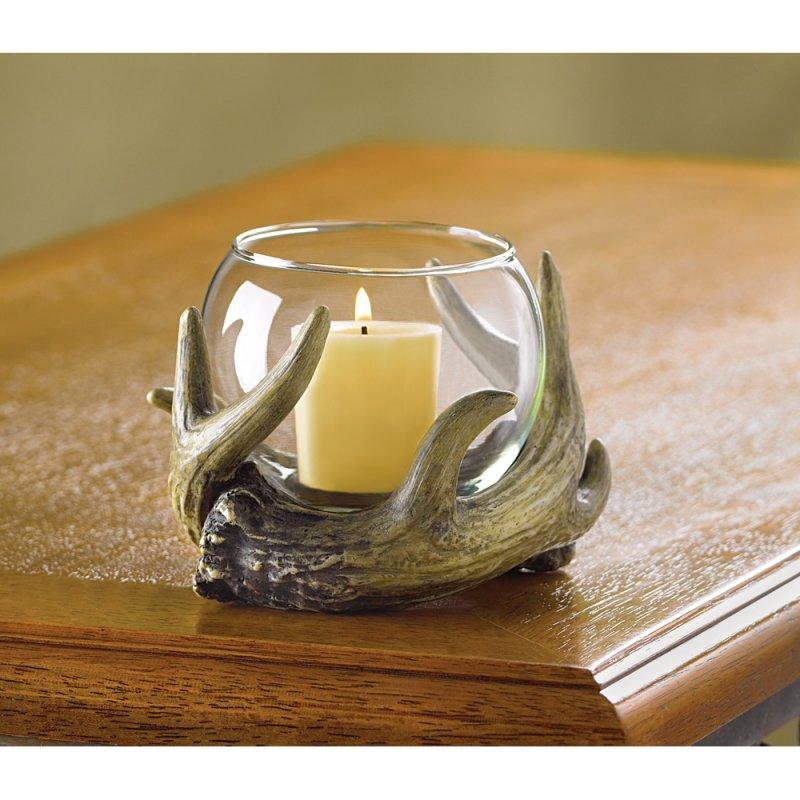 Image 0 of Rustic Antler Votive Candle Holder Western Decor