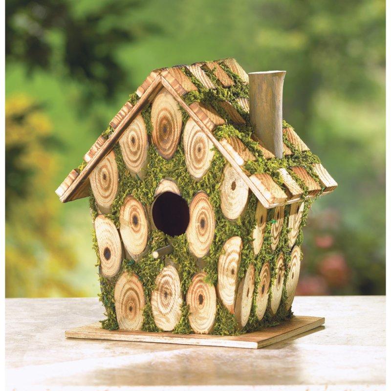 Moss Edged Wood Birdhouse