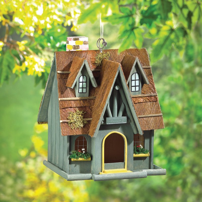 Image 0 of Thatched Roof Cottage Birdhouse