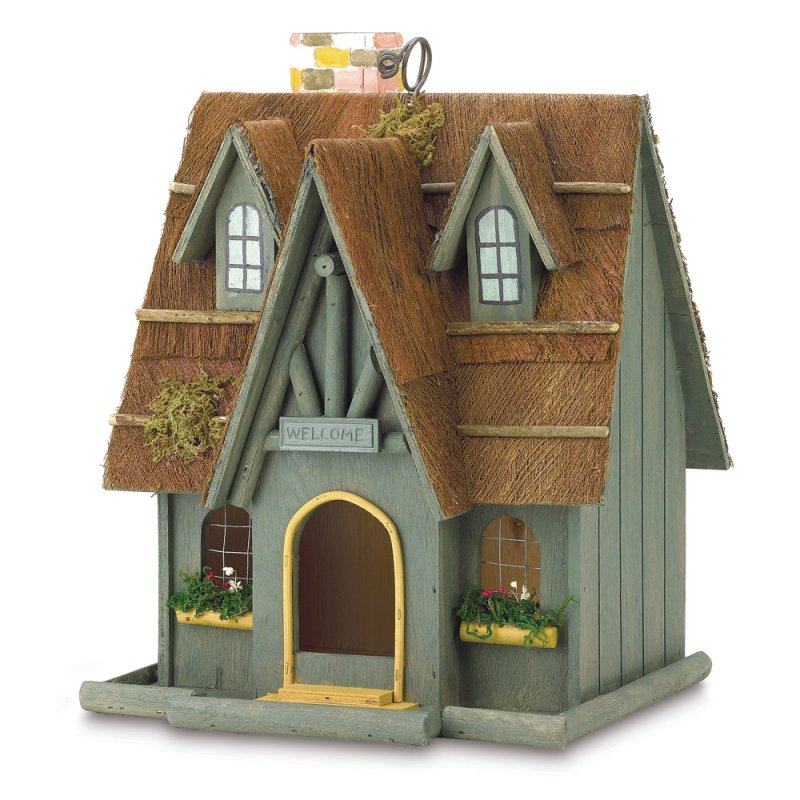 Image 1 of Thatched Roof Cottage Birdhouse