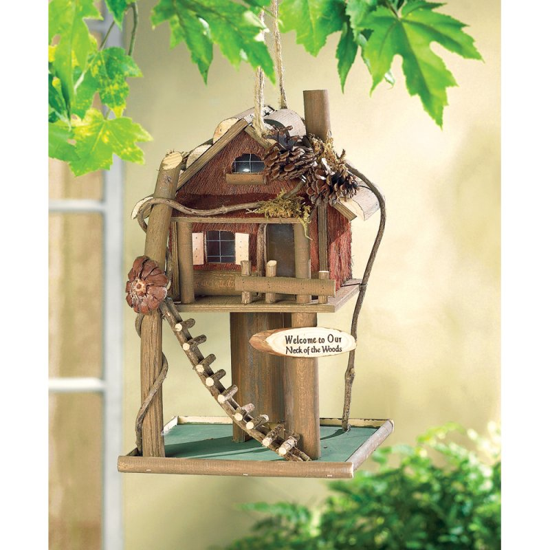 Image 1 of Treehouse Birdhouse Wood