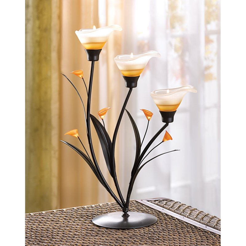 Amber Lilies Candelabra Tealight Candle Holder