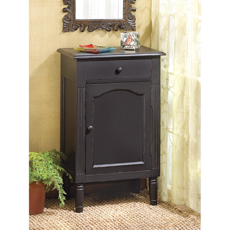 Antiqued  Matte Black Cabinet Nightstand End Table Bath Cabinet