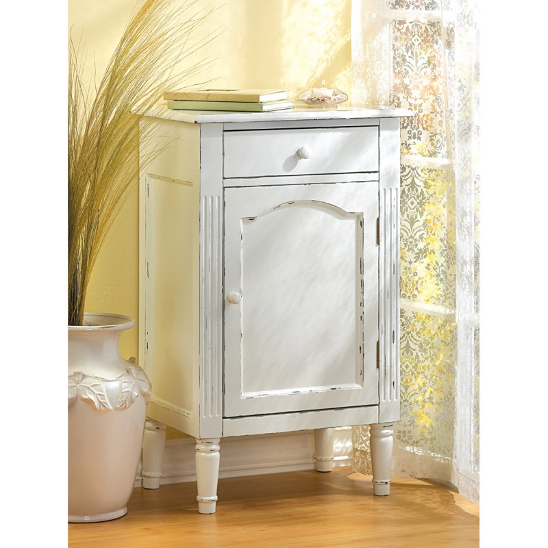 Antiqued White Shabby Bath Cabinet or Nightstand End Table