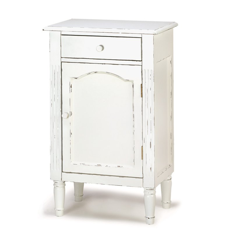 Image 1 of Antiqued White Shabby Bath Cabinet or Nightstand End Table